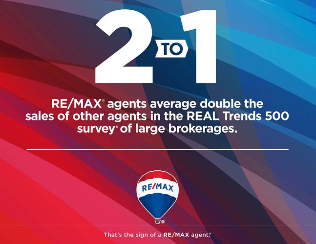 REMAX agents average double the sales of other agents